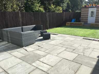 Slate paving and Artificial grass